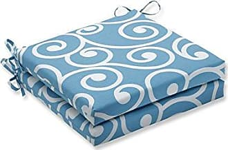 Pillow Perfect Outdoor/Indoor Best Turquoise Squared Corners Seat Cushion 20x20x3 (Set of 2)