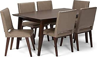 Simpli Home Simpli Home AXCDS7DRP-ASB Draper Mid Century Modern 7 Pc Dining Set with 6 Upholstered Dining Chairs and 66 inch Wide Table