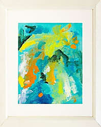 Buyartforless Buyartforless Framed Contrast of Colors II by Elizabeth Stack 16x20 Matted Art Print Poster Abstract Colorful Painting Blue Green Yellow Orange
