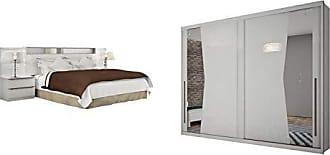 Novo Horizonte Quarto de Casal Completo MadeiraMadeira com Guarda Roupa 2 Portas e Cabeceira com 2 Criados Mudos 401611 Branco
