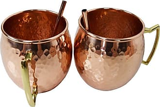 Oakland Living Hammered 17 oz. Copper Moscow Mule Cups with 2 Straws - Set of 2 - ZMUG-HAM-ROUND-CO