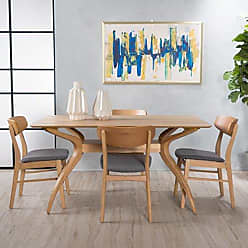 GDF Studio Christopher Knight Home 299330 Leona Mid Century Natural Oak Finish 5 Piece Dining Set (Dark Grey)