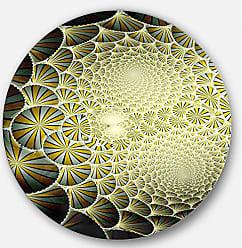 DESIGN ART Designart Yellow Symmetrical Unique Fractal Design Modern Floral Round Wall Art- Disc of 23 23 H x 23 W x 1 D 1P Black
