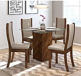 Siena Móveis Conjunto Sala de Jantar Mesa Tampo em Vidro Formosa 4 Cadeiras Malta Siena Móveis Rústico Malbec