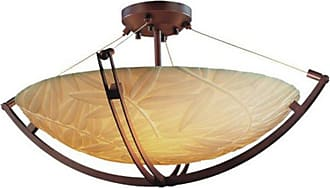 Justice Design PNA-9712 Crossbar 24 in. Semi-Flush Round Bowl Shade with Bamboo Shade - PNA-9712-35-BMBO-DBRZ-LED5-5000