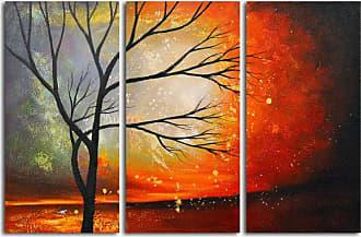 Omax Decor OMAX Tree in the Blazing Sun Original Oil Painting - Set of 3 - M 3115