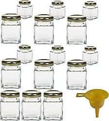 0212b54bbade43 Viva Haushaltswaren 15 x Mini-Marmeladenglas   Gewürzglas 50 ml mit  goldfarbenem Schraubverschluss