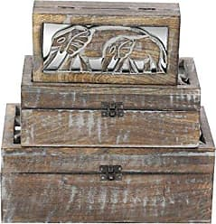 Deco 79 96099 Wooden Elephant Boxes (Set of 3), Brown/White/Brass-Finish