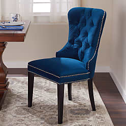 Abbyson Versailles Blue Tufted Dining Chair (Wood - Espresso Finish - Standard - Foam - Ink Blue - Glam/Modern & Contemporary - Dining Height)