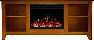 Cambridge Silversmiths Santa Monica Heater with 63-in. Teak TV Stand, Enhanced Log Display, Multi-Color Flames, and Remote, CAM6226-1TEKLG3 Electric Fireplace