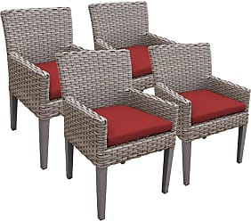 TK Classics Oasis Outdoor Dining Chairs with Arms Terracotta / Gray - TKC297B-DC-3X-C-TERRACOTTA