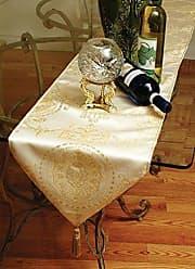 Violet Linen Prestige Damask Table Runner, 13 X 90, Beige