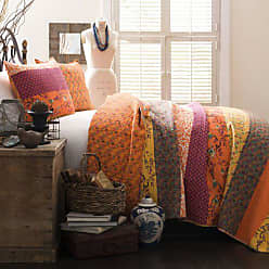Lush Décor Royal Empire Quilt Striped Pattern Reversible 3 Piece Bedding Set, Full Queen, Tangerine