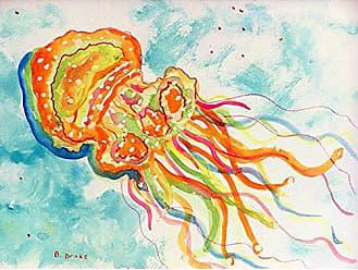 Betsy Drake DM272G Orange Jellyfish Door Mat 30 x50