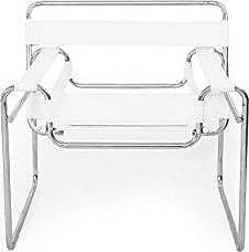 Kardiel WASS-White-Leather Wassily Chair, Black Saddle