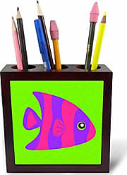 3D Rose ph_57110_1 Cute Bright Purple and Pink Stripe Tropical Fish on Green Tile Pen Holder, 5-Inch