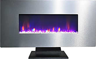Cambridge Silversmiths CAM42WMEF-1SS 42 In. Metallic Electric Fireplace in Stainless Steel with Multi-Color Crystal Rock Display