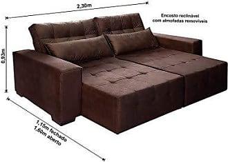 Cama inBox Sofá Retrátil, Reclinável e Cama com Molas New Confort 2,30 Tecido Suede Marrom Café - Moveis Marfim