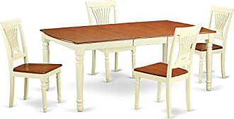 East West Furniture DOPL5-WHI-W 5 Piece Dinette Table and 4 Dining Room Chairs