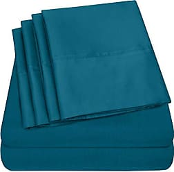 Sweet Home Collection 6 Piece 1500 Thread Count Brushed Microfiber Deep Pocket Sheet Set - 2 Extra Pillow Cases, Value, RV Short Queen, Teal