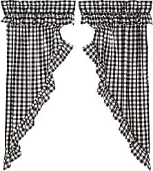 s VHC Brands Farmhouse Curtains Annie Rod Pocket Cotton Tie Back Ruffling Buffalo Check Panel Pair Black Country