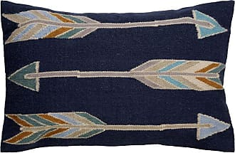 Jaipur Living Rugs Jaipur Arrow Pattern Wool and Cotton Decorative Pillow Blue Indigo / Pelican Down Fill - PLW102686