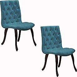 Daf Mobiliário Kit 2 Cadeira Constance Com Capitonê Turquesa - Daf mobiliário