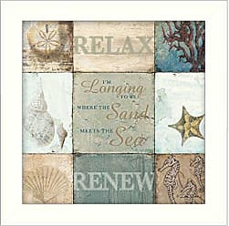 Trendy Decor 4 U Sand and Sea By Dee Dee, Printed Wall Art, Ready To Hang Framed Poster, White Frame
