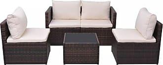 Overstock vidaXL Garden Sofa Set 13 Piece Wicker Brown Outdoor Furniture