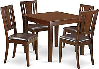 East West Furniture OXDU5-MAH-LC 5Piece Dinette Set with One Oxford Dining Table & Four Dining Room Chairs in Mahogany Finish