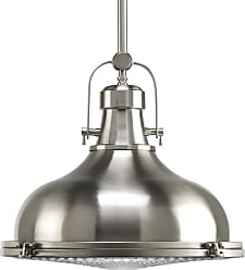 PROGRESS P5197-09 One-light pendant in Brushed Nickel finish with clear fresnel glass