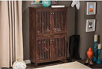 Wholesale Interiors Baxton Studio Wholesale Interiors Fernanda Modern and Contemporary 4-Door Oak Brown Wooden Entryway Shoes Storage Tall Cabinet