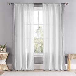 Duck River Textile Thirza Striped Faux Silk Textured Pole Top Window Curtains for Living Room & Bedroom - Assorted Colors - Set of 2 Panels (39 X 96 Inch - Taupe & White)