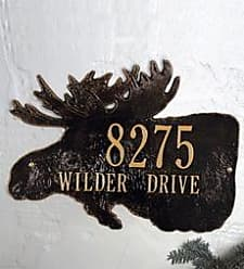 Whitehall American-Made Moose Silhouette Address Plaque In Cast Aluminum