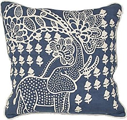 Jaipur Abstract Pattern Blue/Ivory Linen Polly Fill Pillow, 18-Inch x 18-Inch, White Asparagus Encasa01