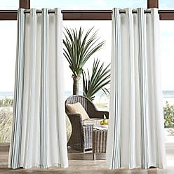 Madison Park Newport Printed Stripe 3M Scotchgard Outdoor Curtain Door Treatment Panel for Patio Porch or Balcony, 54x108, Grey