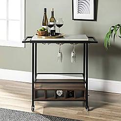 Walker Edison WE Furniture AZF34MADWWM bar cart, 34, White Marble