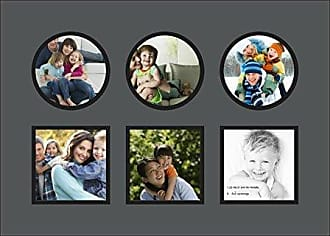 Art to Frames Art to Frames Double-Multimat-697-41/89-FRBW26079 Collage Photo Frame Double Mat with 6 - 5x5 Openings and Satin Black Frame