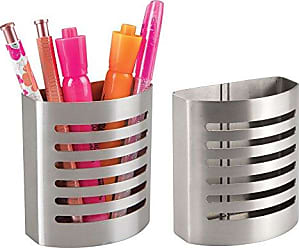 InterDesign Forma Magnetic Modern Pen and Pencil Holder, Metal Writing Utensil Storage Organizer for Kitchen, Locker, Home, or Office, Set of 2, Stainless Steel