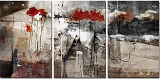 Ready2HangArt Abstract 3 Piece Botanical Modern Contemporary Canvas Wall Art, Panel: 20 x 16, Grey