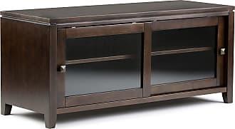 Simpli Home Cosmopolitan Solid Wood TV Media Stand in Coffee Brown