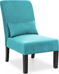 Best Choice Products Fabric Armless Accent Chair w/ Lumbar Pillow - Teal