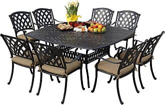 DARLEE Outdoor Darlee Ocean View Aluminum 9 Piece Square Patio Dining Set - 201630-9PC-30W