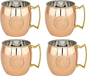 Old Dutch International OS428MMG Solid Moscow Mule Monogram G Mugs, Set of 4, Copper, 16 oz