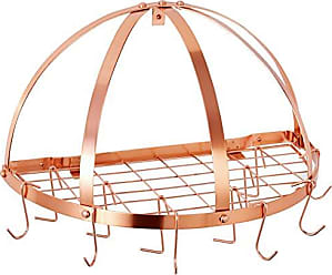Old Dutch International Old Dutch Half-Round Pot Rack with Grid & 12 Hooks, Copper, 22 x 11 x 12