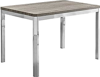 Monarch Specialties I I 1042 Dining Table - 32X 48/ Dark Taupe/Chrome Metal, 47.5 L x 31.5 D x 30 H