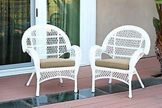 Jeco W00209-C_2-FS006-CS Wicker Chair with Tan Cushion, Set of 2, White/W00209