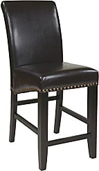 Office Star Metro Bonded Leather Parsons Counter-Height Bar Stool with Nailhead Accents, 24-inch, Espresso