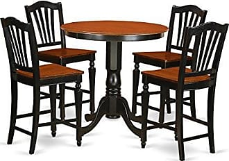 East West Furniture JACH5-BLK-W 5 Piece Pub Table and 4 Counter Height Dining Chair Set, Black/Cherry Finish