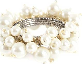 SARO LIFESTYLE Faux Pearl Flower Design Napkin Ring Set of 4 Ivory 2.5 x 3.5